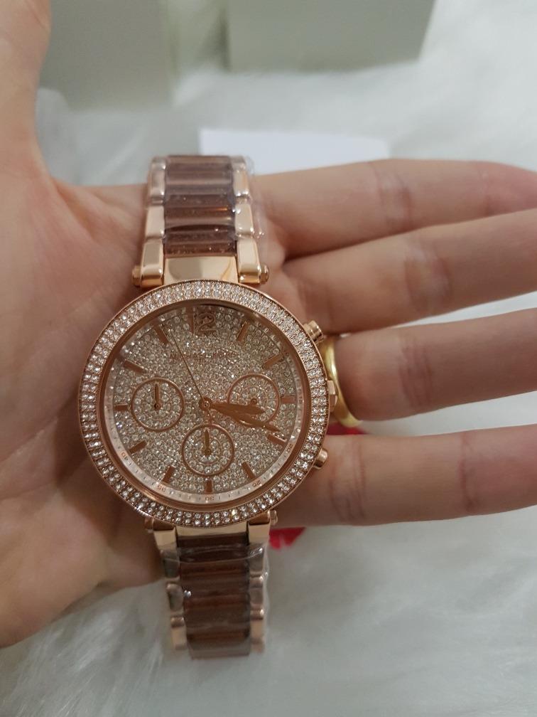 4f7bef37ae61 Relógio Michael Kors Mk 6285 Original Rosé Dourado Cristal N - R ...
