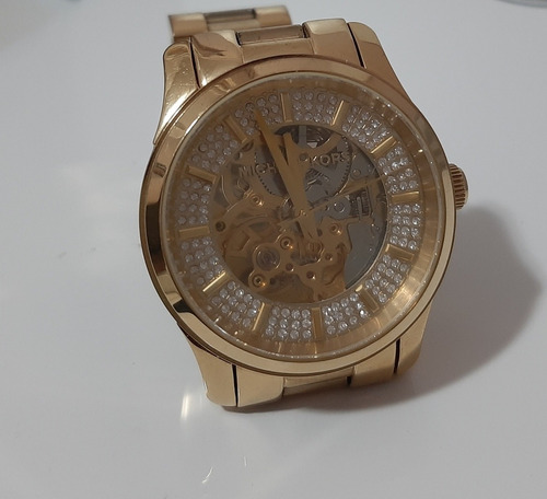 relógio michael kors mk 9009  automático dourado original