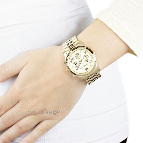relógio michael kors mk5055 orig chron anal gold