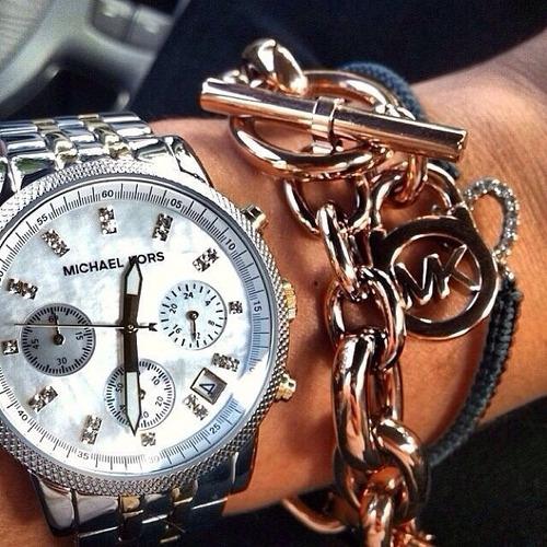 relógio michael kors mk5057 orig chron anal gold silver