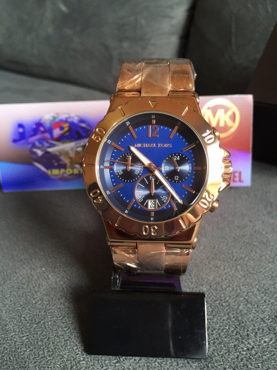 6465ac2eecb relogio michael kors mk5410 - rose c  azul marinho lindo. Carregando zoom.