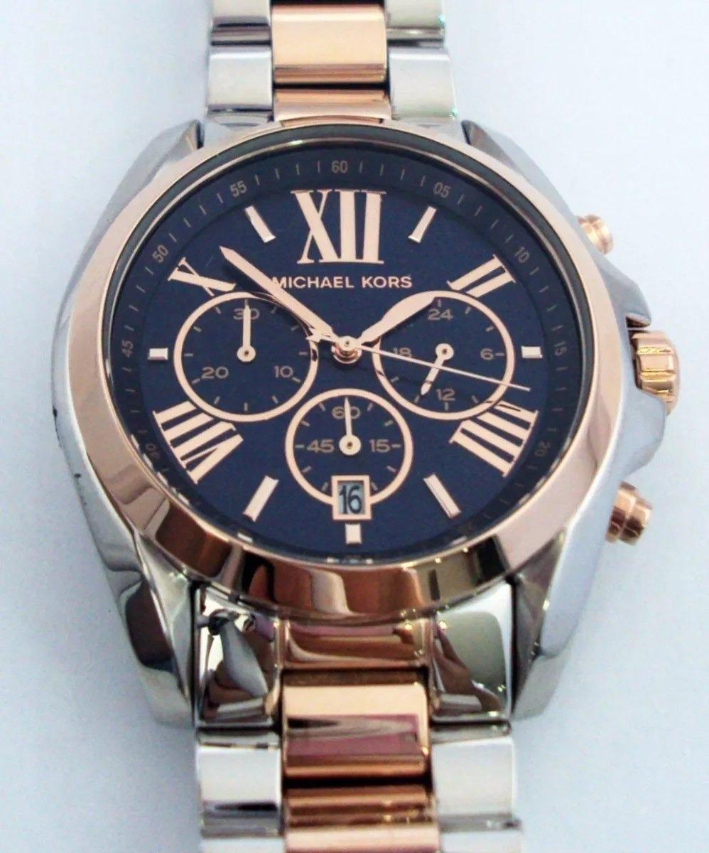 c9536a0fb95 relógio michael kors mk5606 blue marine rose silver. Carregando zoom.