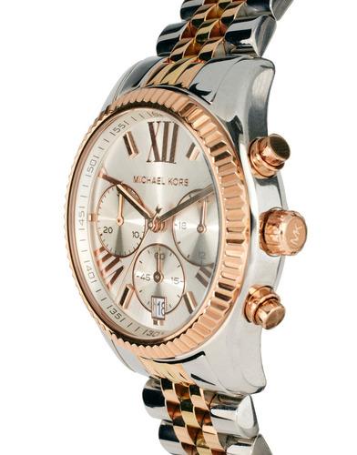 relógio michael kors mk5735 orig chron anal gold silver