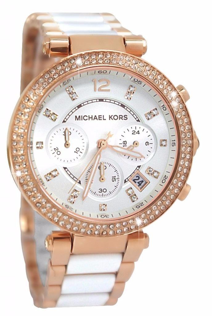 89e5723c1ee64 relogio michael kors mk5774 rose branco com strass completo. Carregando  zoom.