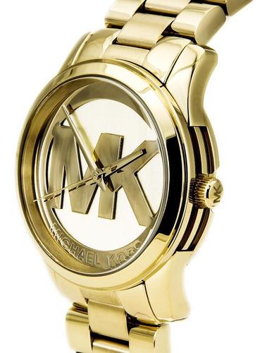 relógio michael kors mk5786 runway orig chron anal gold