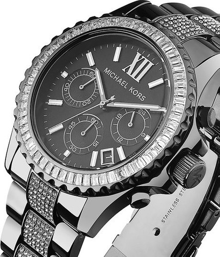 relógio michael kors mk5829 orig chron anal black swarovski