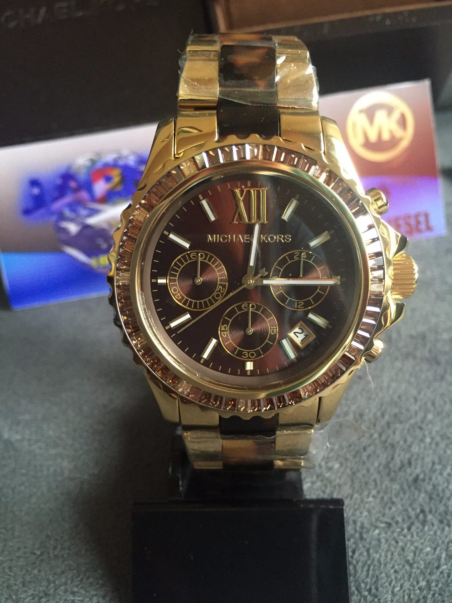 9167a6b0a07e8 relogio michael kors mk5873 dourado marrom strass original. Carregando zoom.
