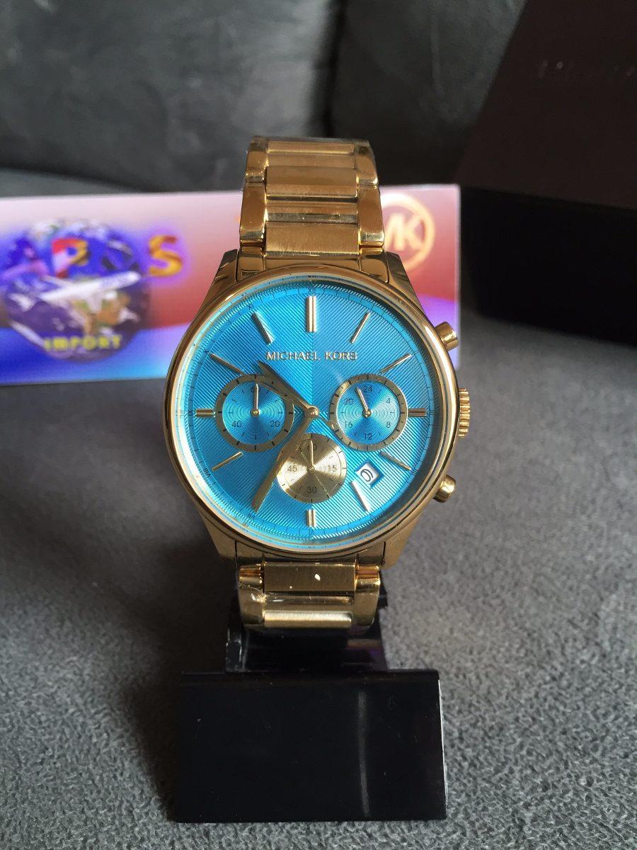 d01f9f1b627 relogio michael kors mk5910 dourado e azul original lindo. Carregando zoom.