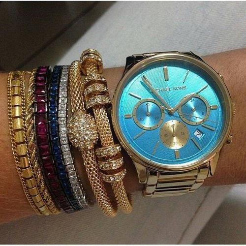 relógio michael kors mk5910 orig chron anal gold blue