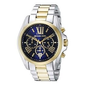 Relógio Michael Kors Mk5976 Bradshaw Azul Prata Dourado