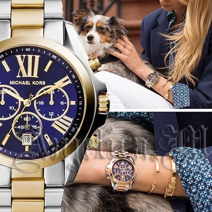 26b792fdb3c10 Relógio Michael Kors Mk5976 Bradshaw Azul Prata Dourado - R  989