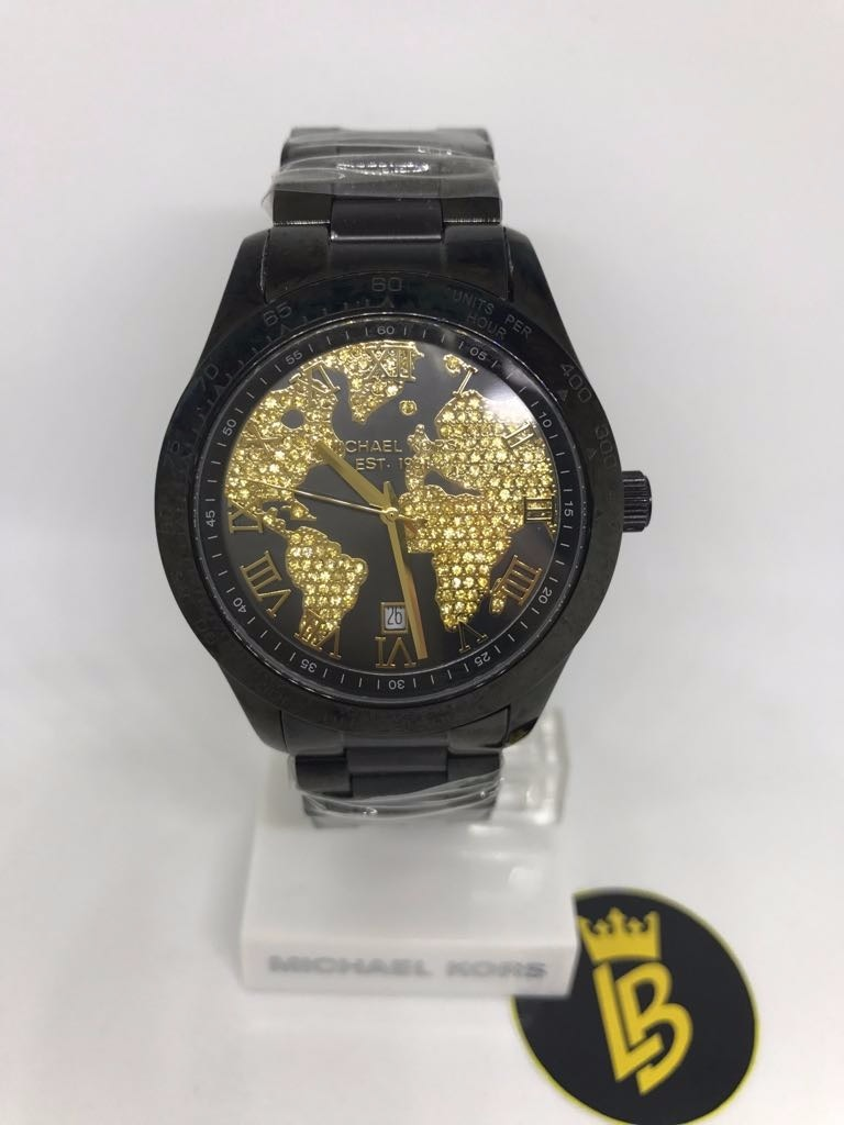 106a976d4b6 relógio michael kors mk6091 preto e dourado mapa com caixa. Carregando zoom.