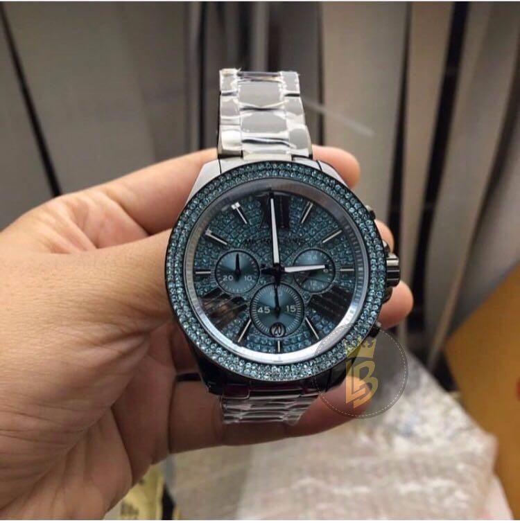 e6efd0f66 Relógio Michael Kors Mk6097 Strass Azul Com Garantia 1 Ano - R$ 820,00 em  Mercado Livre