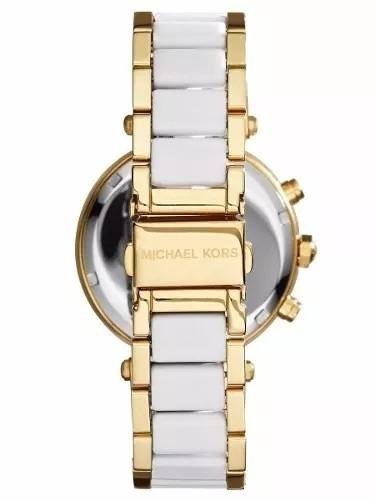 f3469e6c13ed9 Relógio Michael Kors Mk6119 Branco Dourado Original Caixa !! - R ...