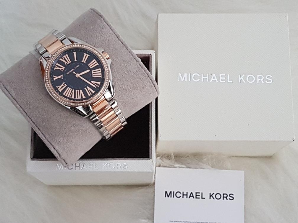 9c426e4b6eb8 relógio michael kors mk6185 original prata rosé azul nota. Carregando zoom.