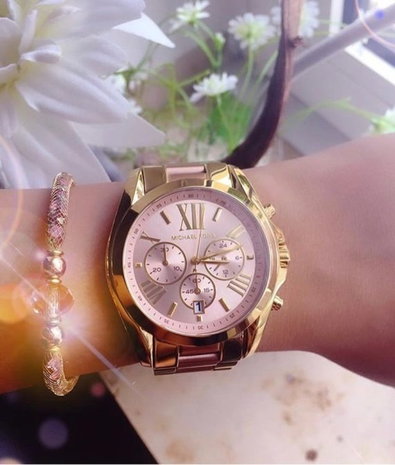 f2e5772decb9b Relógio Michael Kors Mk6359 Bradshaw Dourado E Rose Mistp - R  979 ...