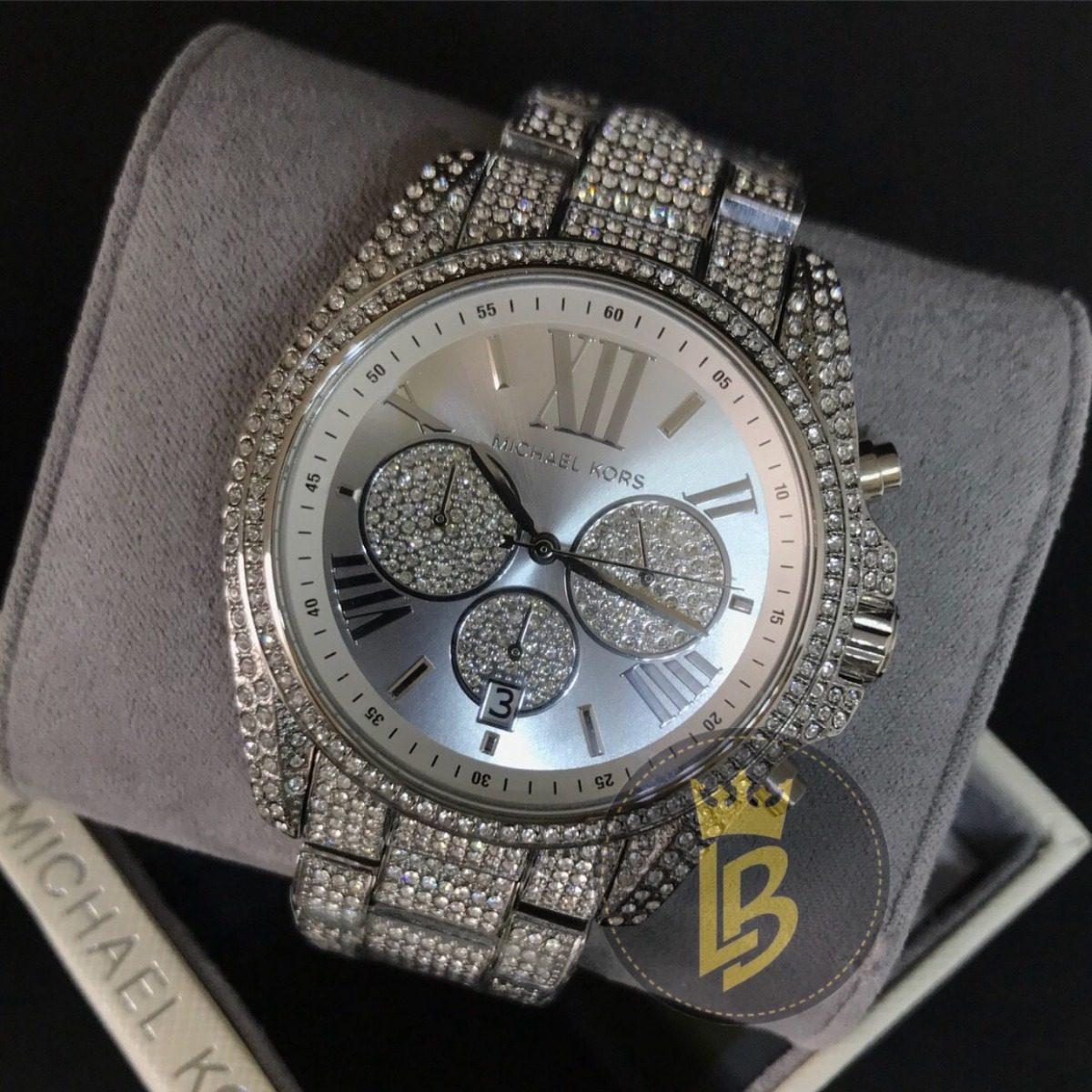 8060df732ca43 relógio michael kors mk6442 cristais roman, prata, original. Carregando  zoom.