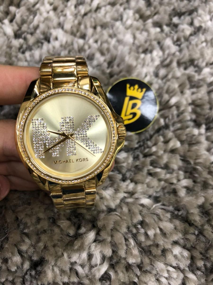 78ac1da42f757 relógio michael kors mk6555 dourado com strass 100% original. Carregando  zoom.