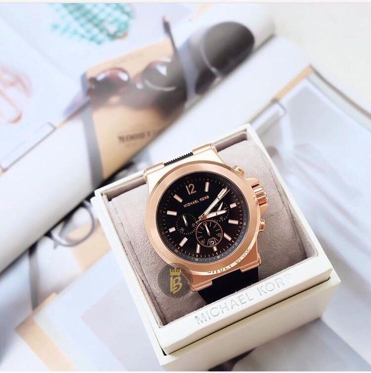 81314b368c983 Relógio Michael Kors Mk8184 Unissex Rose Com Preto Original - R  797 ...