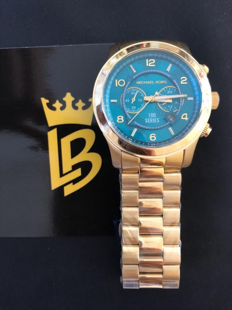f8529882dc2fe relógio michael kors mk8315 azul turquesa dourado 100 séries. Carregando  zoom.