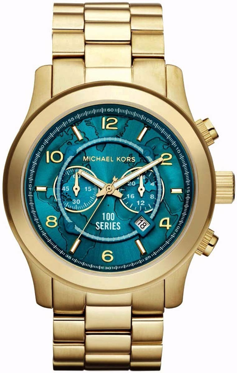 79784669a4f relógio michael kors mk8315 dourado grande mapa original. Carregando zoom.