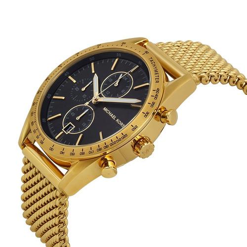 relógio michael kors mk8388 orig chron anal gold black