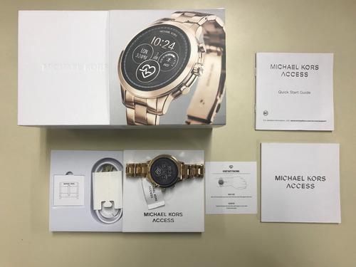 relógio michael kors smartwatch rose runway mkt5046 - zerado