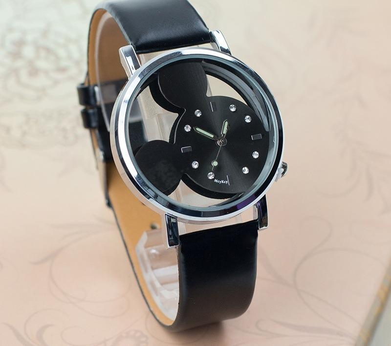 ca32b606a1a relógio mickey pulseira couro preto feminino rg004f. Carregando zoom.