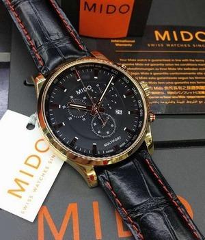 relógio mido masculino couro cronografo rose m0054173605120