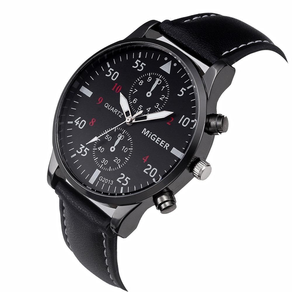 c1452976a88 relógio migeer sport social pulseira couro- original. Carregando zoom.