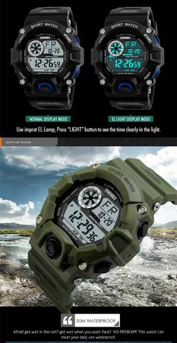 relógio militar bombeiros tático mergulho skmei digital led