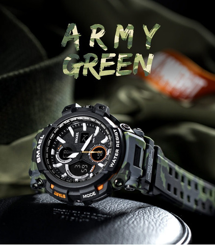 relógio  militar camuflado smael black green prova dágua