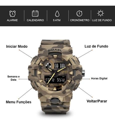 relógio militar esportivo digital camuflado smael 8001