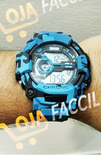 relógio militar esportivo digital skmei azul - frete grátis!
