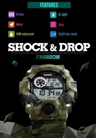 a4f4d1e5bef Relógio Militar Skmei Digital 1019 Original Prova D água Top - R  99 ...