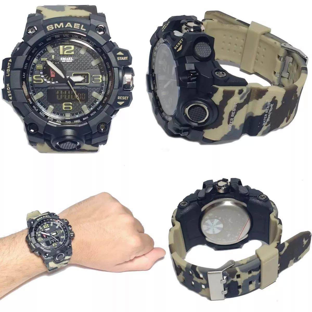 7ac4adac8ed relógio militar smael 1545 camuflado à prova d água 50m. Carregando zoom.