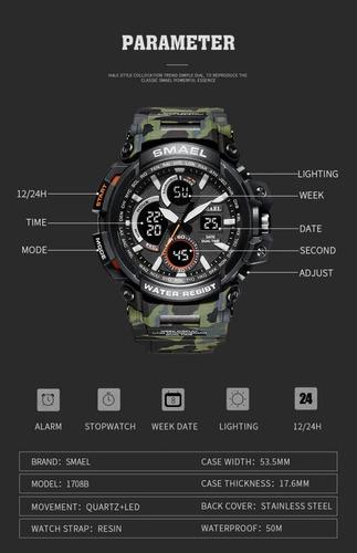 relógio militar smael analógico digital camuflado gamo