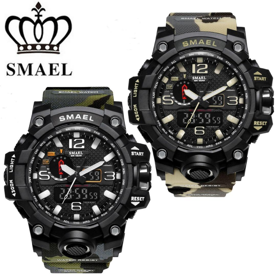 ae3c0608372 relógio militar smael analógico digital camuflado shock. Carregando zoom.