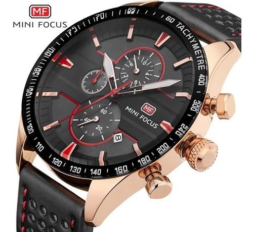 relógio mini focus® couro cronógrafo/cronômetro à prova d'ág