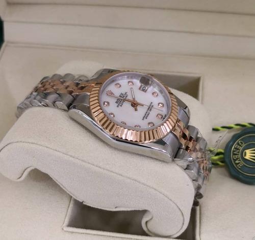 relógio mod lady datejust 32mm bisel pedras presidente top