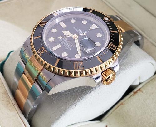 relógio modelo eta - sea-dweller two tone - confeccionado com aço 904l e plaquet em ouro 18k - vr factory best edition