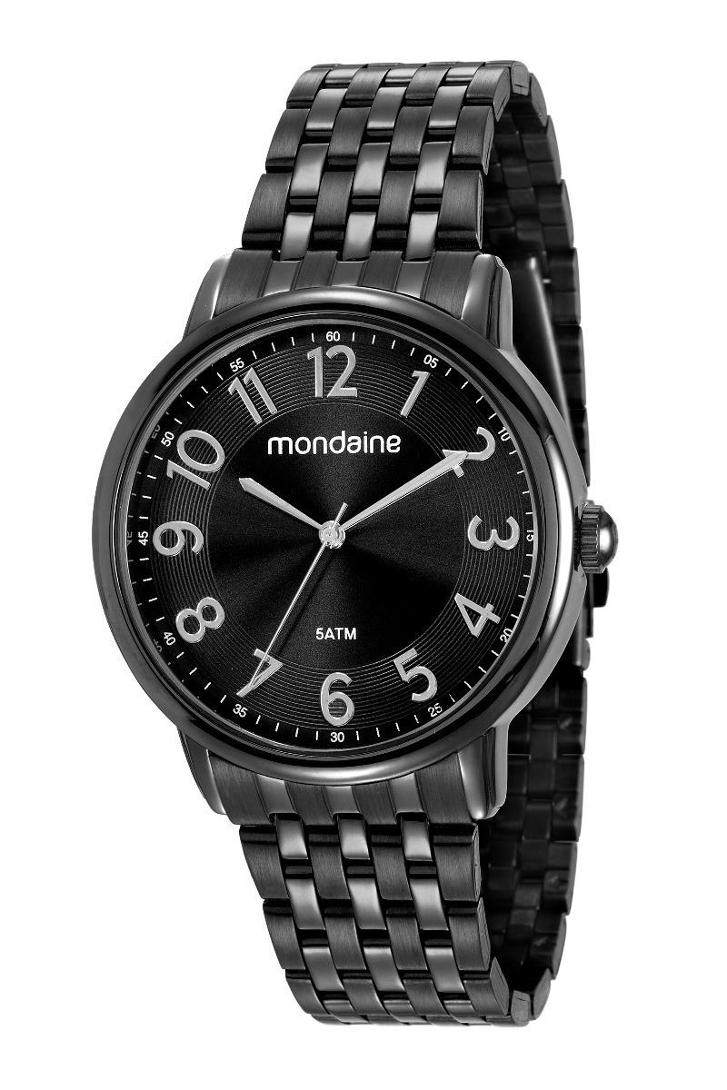 2ed0d63fe26 Relógio Mondaine Feminino 53673lpmvpe1 Preto Aço - R  199
