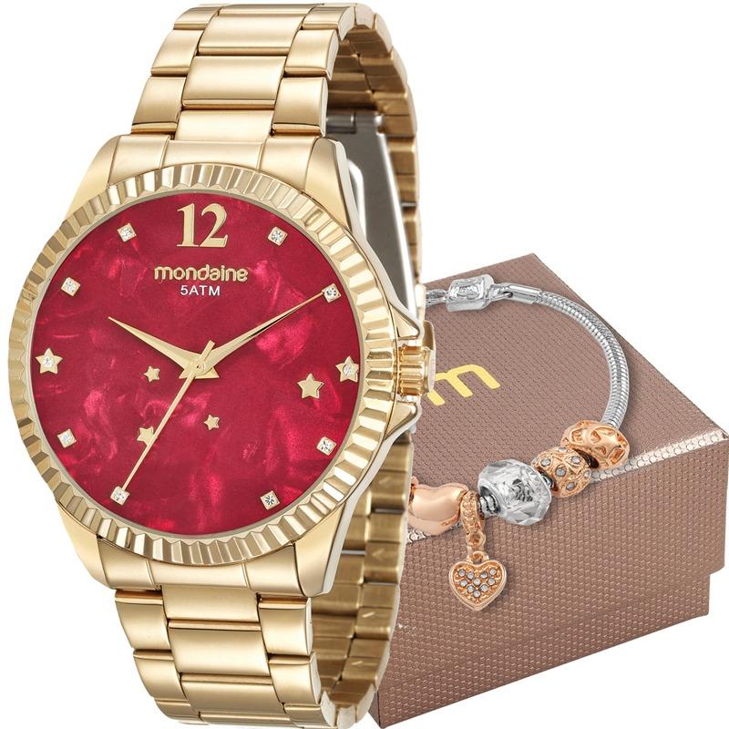 dbef03e4b2c Kit Relógio Mondaine Feminino Com Pulseira 99128lpmkde9k2 - R  215 ...