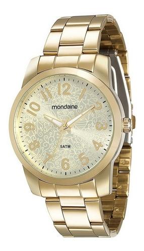 relógio mondaine feminino analógico dourado 78537lpmvda1