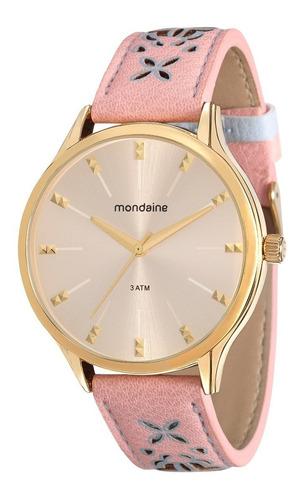 relógio mondaine feminino dourado couro 76610lpmvdh3