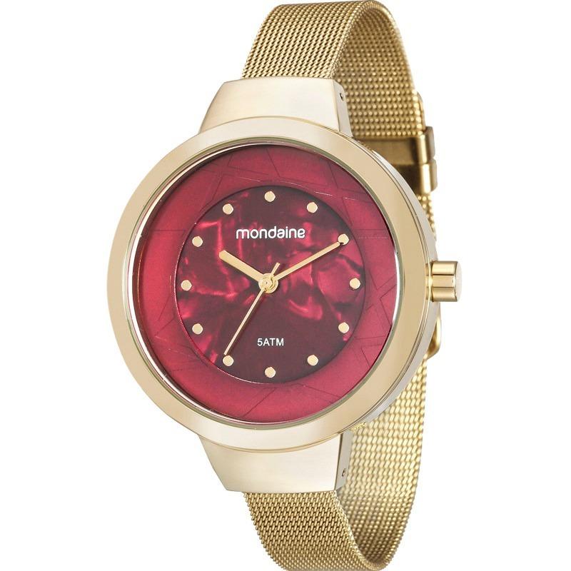 47f0a80cbb1 relógio mondaine feminino dourado e bordô 99052lpmvde1. Carregando zoom.