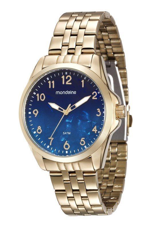 39409ec579d Relógio Mondaine Feminino Dourado Fundo Azul 99004lpmvde1 - R  283 ...