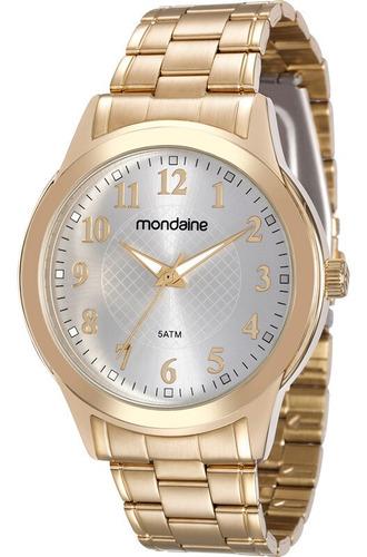 relógio mondaine feminino dourado fundo branco