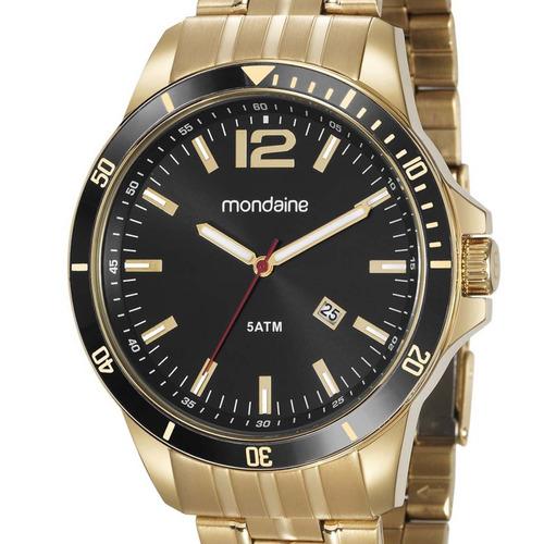 relógio mondaine masculino 78757gpmvda2 dourado c/ nota