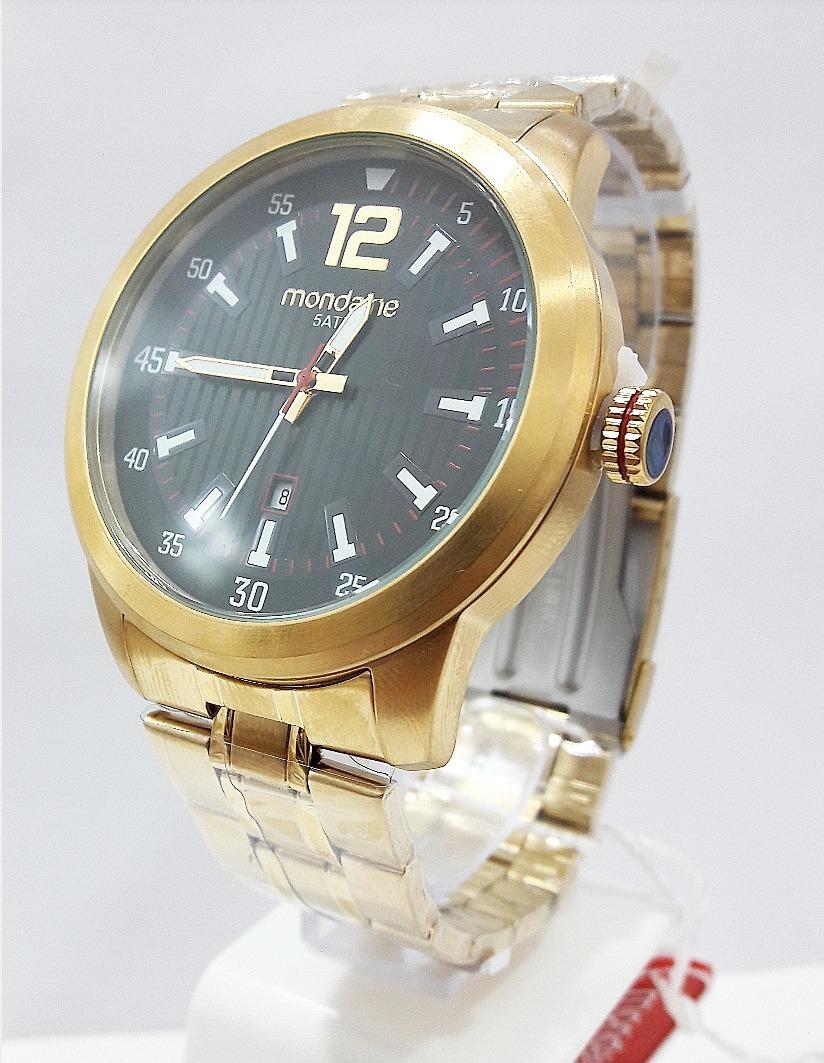d9d3a1247de Relógio Mondaine Masculino Dourado 99202gpmvda1 - R  259
